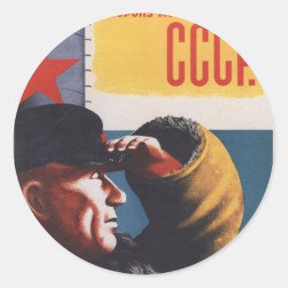 Russian Vintage Communist Propaganda Poster Round Sticker