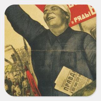 Russian Vintage Communist Propaganda Poster Square Sticker