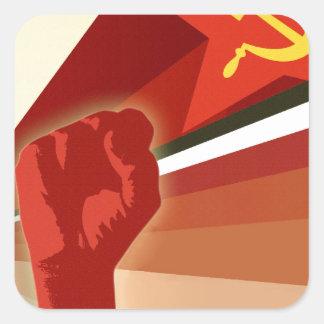 Russian Vintage Communist Propaganda Square Sticker