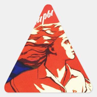Russian Vintage Communist Space Propaganda Triangle Sticker