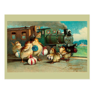 Russian Vintage Easter with Train Postcard