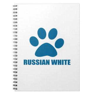 RUSSIAN WHITE CAT DESIGNS SPIRAL NOTEBOOK