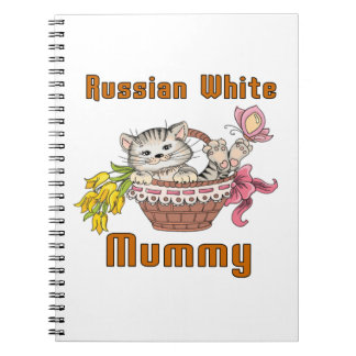 Russian White Cat Mom Spiral Note Books