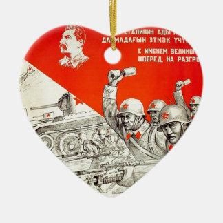 Russian WWII Propaganda Ceramic Heart Ornament