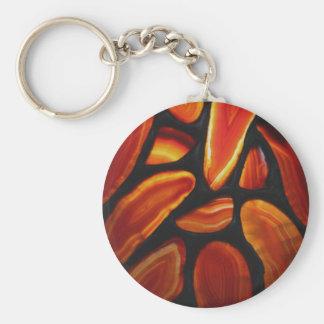 Rust Agate Basic Round Button Keychain