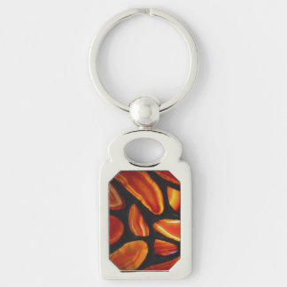 Rust Agate Silver-Colored Rectangle Keychain