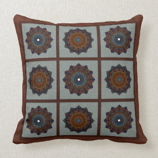 Rust And Blue Stars Throw Pillow