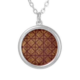 Rust and Gold Pattern Silver Plated Necklace