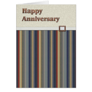 Rust & Blue Stripes with Copper Buckle Anniversary Card