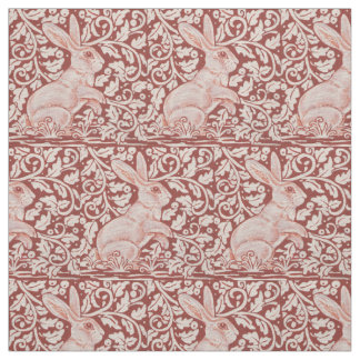 Rust Color Rabbit & Leaves Designer Fabric
