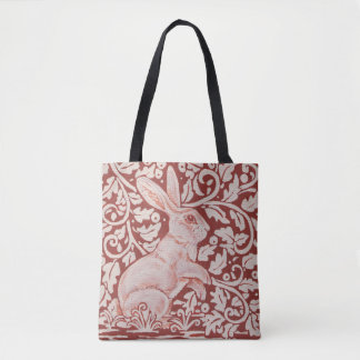 Rust Color Rabbit & Leaves Designer Shopping Tote