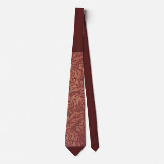 Rust Color Tie with Autumn Leaves
