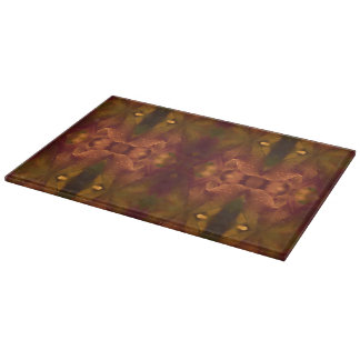 Rust Copper Green Yellow Abstract Tulip Cutting Board