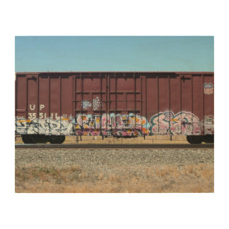 Rust Freight Train w/ Graffiti Wood Panel Art