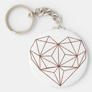rust-geometric heart design basic round button keychain