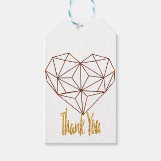rust-geometric heart design gift tags