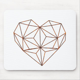 rust-geometric heart design mouse pad