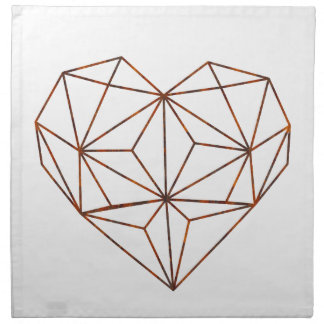 rust-geometric heart design napkin
