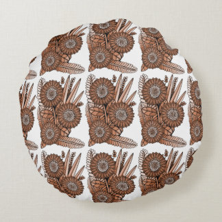 Rust Gerbera Daisy Flower Bouquet Round Pillow