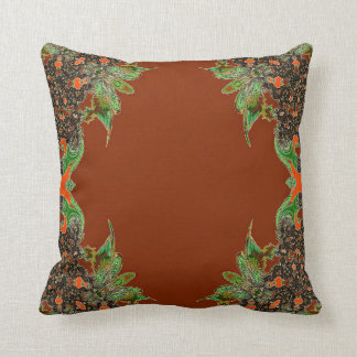 Rust Green Abstract Feathery Throw Pillow