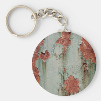 Rust Green Wall Peeling Paint Background Basic Round Button Keychain