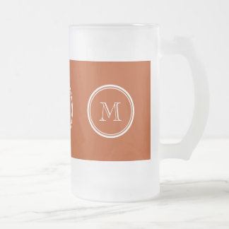 Rust High End Colored Monogram Initial 16 Oz Frosted Glass Beer Mug