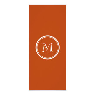 """Rust High End Colored Monogram Initial 4"""" X 9.25"""" Invitation Card"""