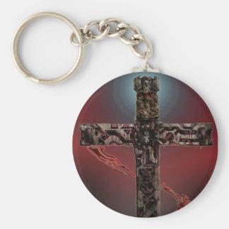 Rust-Iron Cross Basic Round Button Keychain