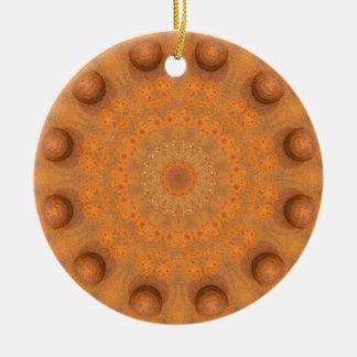 Rust-Mandala, Colors of Rust_843_2 Round Ceramic Ornament