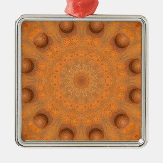 Rust-Mandala, Colors of Rust_843_2 Silver-Colored Square Ornament