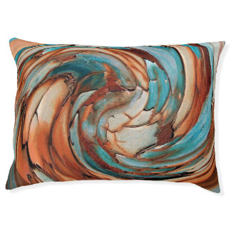 Rust N Blue Abstract Art Dog Pillow