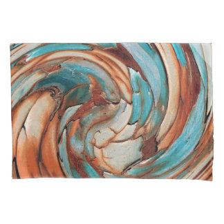 Rust N Blue Abstract Art Pillow Case