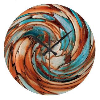 Rust N Blue Abstract Art Wall Clock