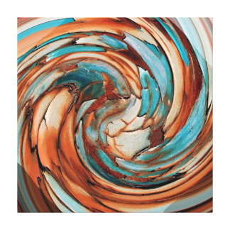 Rust N Teal Abstract Dolphin vs Eagle Canvas