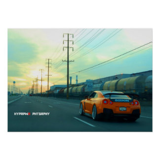 """""""Rust"""" Nissan GT-R in Industrial Area at Sunset Poster"""