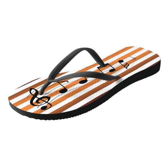 Rust & Orange ~ G-Clef & Notes ~ Music ~ Party ~ Flip Flops