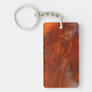 Rust Realm Fractal Single-Sided Rectangular Acrylic Keychain
