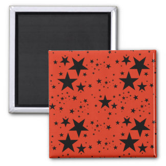 Rust Red and Black Stars pattern Magnet