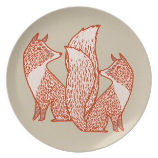 Rust Red and Ivory Foxes Dinner Plate