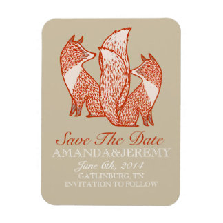 Rust Red and Ivory Foxes Save The Date Magnet