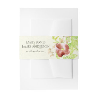 RUST RED ORANGE INK WATERCOLOUR FLORAL MONOGRAM INVITATION BELLY BAND