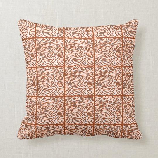 Rust Red Safari Zebra Throw Pillow