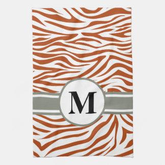 Rust Red Safari Zebra with monogram Kitchen Towel