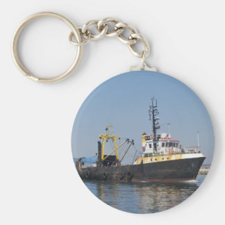 Rust Streaked Fishing Boat Basic Round Button Keychain