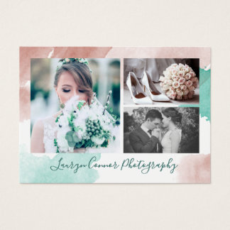 Rust & Teal Watercolors Photo Collage Photographer Business Card