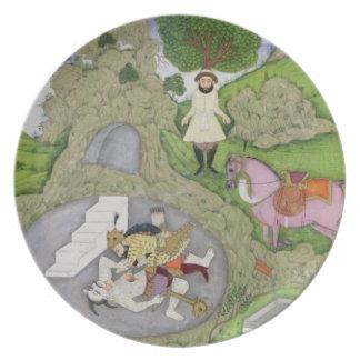 Rustam killing the White Demon, illustration from Dinner Plate