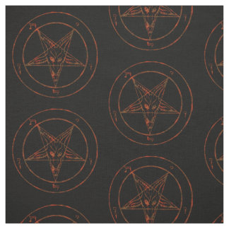 Rusted Baphomet Pentagram Goth Pattern Fabric