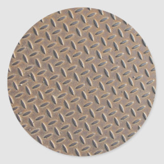 Rusted checker plate made from steel or metal classic round sticker