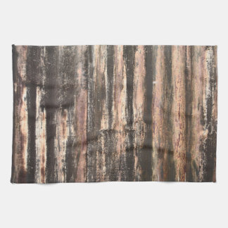 Rusted Corrugated Metal Texture Kitchen Towel