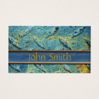 Rusted Diamond Plate Metal Business Card